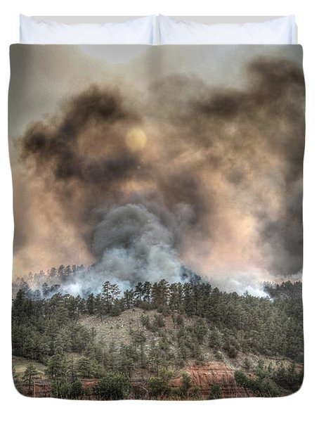 Duvet Cover featuring the photograph Two Smoke Columns White Draw Fire by Bill Gabbert