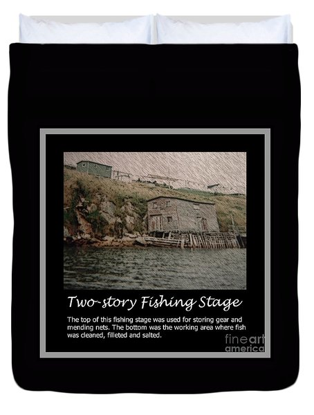 Two-story Fishing Stage Duvet Cover by Barbara Griffin
