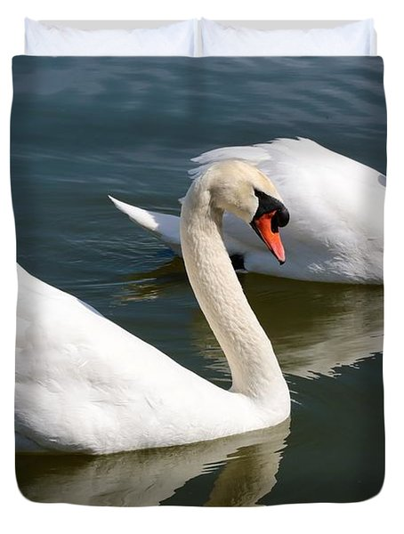 Two Swimming Swans Duvet Cover by Carol Groenen