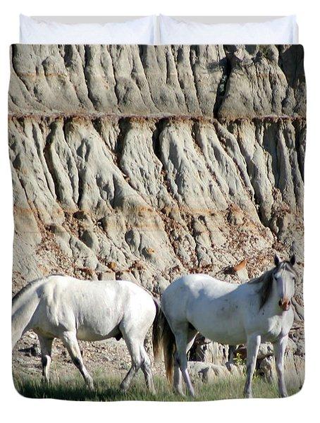 Two Wild White Stallions Duvet Cover by Sabrina L Ryan