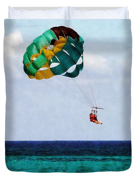 Two Women Parasailing In The Bahamas Duvet Cover by Susan Savad