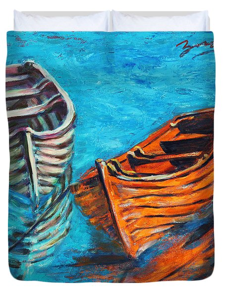 Two Wood Boats Duvet Cover by Xueling Zou