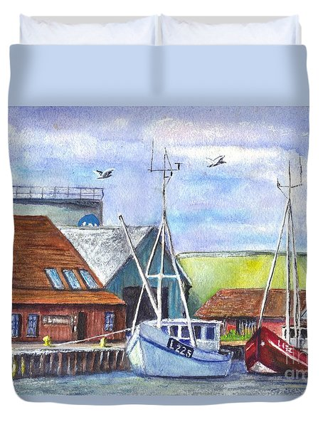 Tyboron Harbour In Denmark Duvet Cover by Carol Wisniewski
