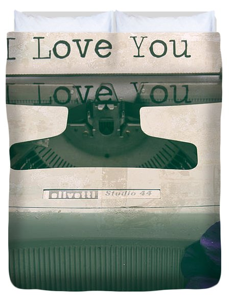 Typewriter Love Duvet Cover by Nomad Art And  Design