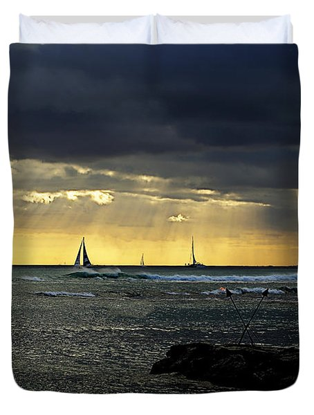 Typical Hawaiian Evening Duvet Cover by Cheryl Young