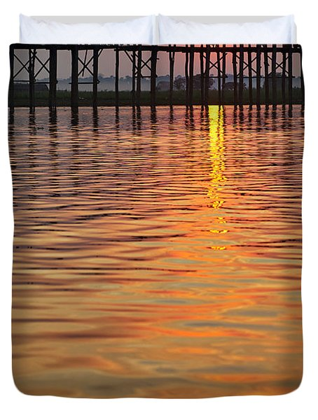 U Bein Bridge In Mandalay Duvet Cover by Juergen Ritterbach