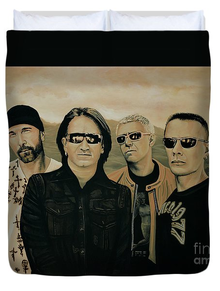 U2 Silver And Gold Duvet Cover by Paul Meijering