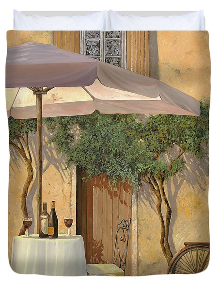un ombra in cortile Duvet Cover by Guido Borelli