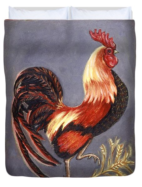 Uncle Sam The Rooster Duvet Cover by Linda Mears