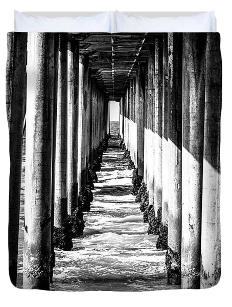 Under Huntington Beach Pier Black and White Picture Duvet Cover by Paul Velgos