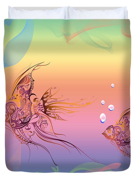 Under The Sea Angel Fish Duvet Cover by Cheryl Young