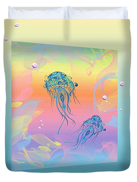 Under The Sea Triptych Duvet Cover by Cheryl Young