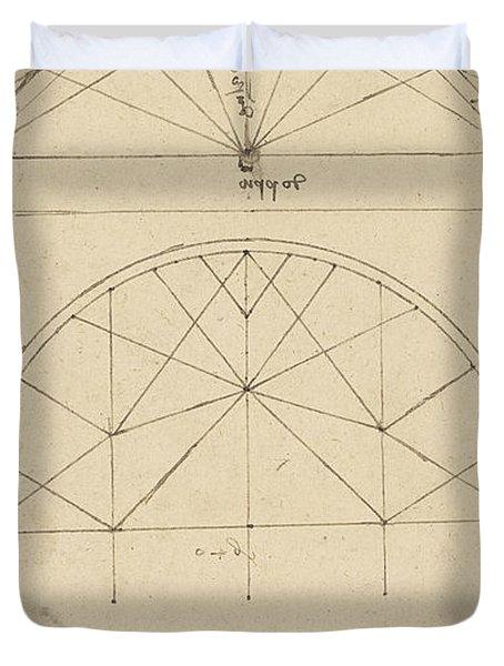 Underdrawing For Building Temporary Arch Duvet Cover by Leonardo Da Vinci