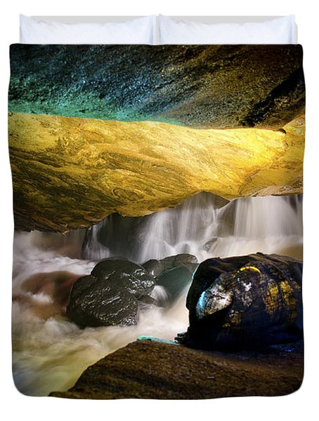 Underground Waterfall 2 Duvet Cover by Mark Papke