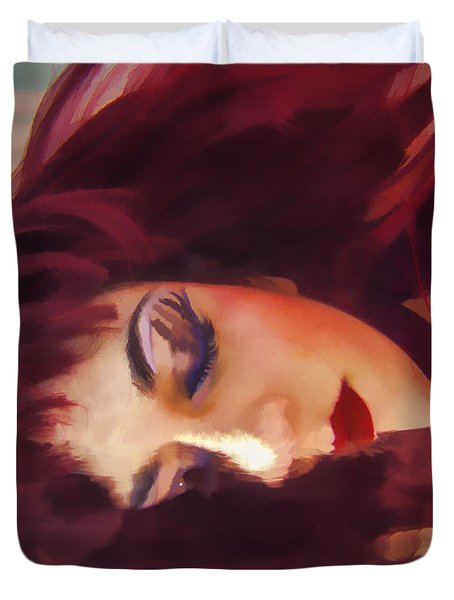 Underwater Geisha Abstract 3 Duvet Cover by Scott Campbell
