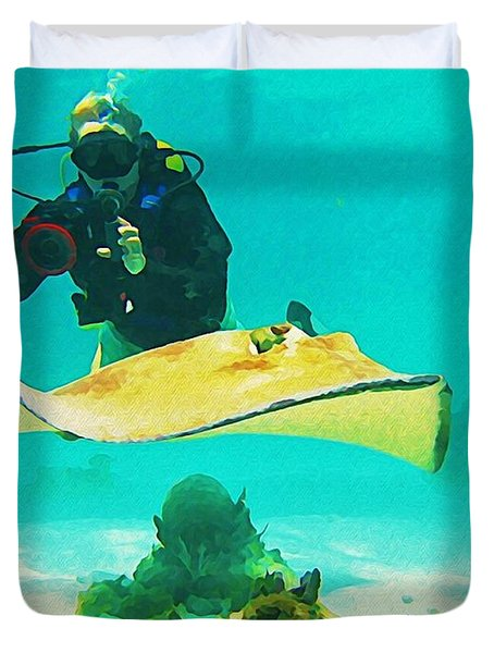 Underwater Photographer And Stingray Duvet Cover by John Malone Halifax Artist