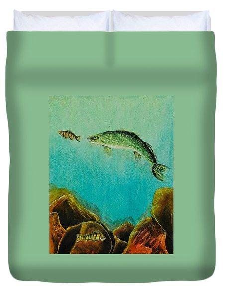 Underwater Predators Panel 1 Duvet Cover by Jeanne Fischer