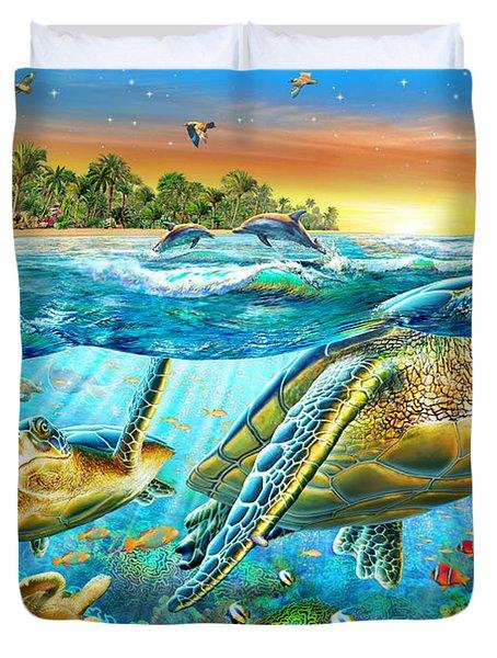 Underwater Turtles Duvet Cover by Adrian Chesterman