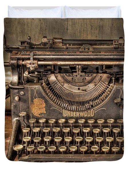 Underwood Typewriter Number 5 Duvet Cover by Debra and Dave Vanderlaan