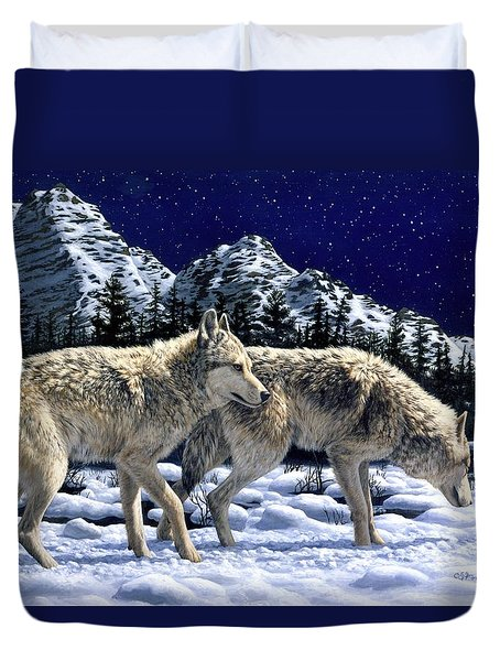 Wolves - Unfamiliar Territory Duvet Cover by Crista Forest