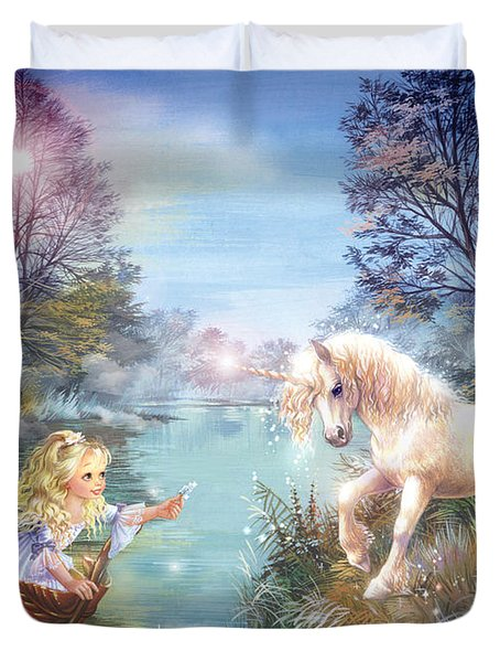 Unicorns Lake Duvet Cover by Zorina Baldescu