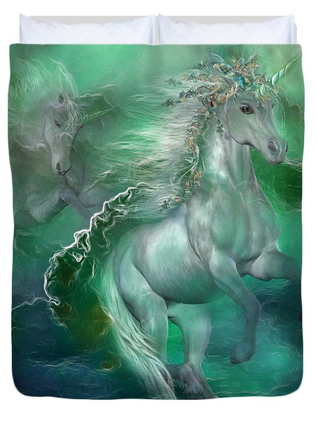 Unicorns Of The Sea Duvet Cover by Carol Cavalaris