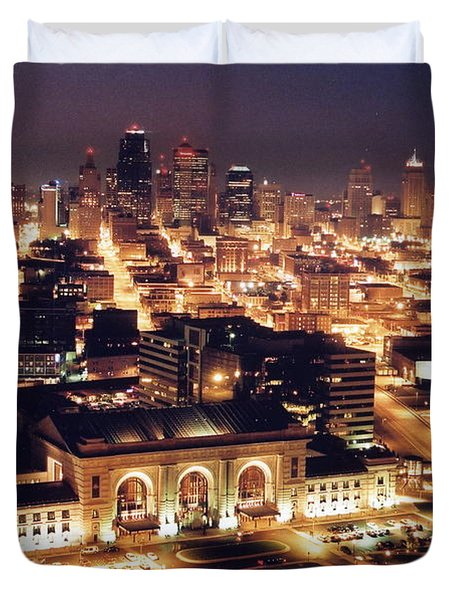 Union Station Night Duvet Cover by Crystal Nederman