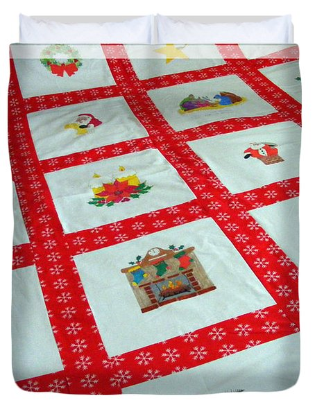 Unique Quilt with Christmas Season Images Duvet Cover by Barbara Griffin