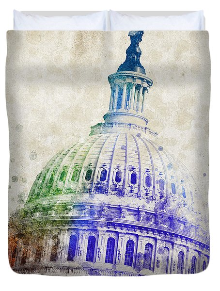 United States Capitol Dome Duvet Cover by Aged Pixel
