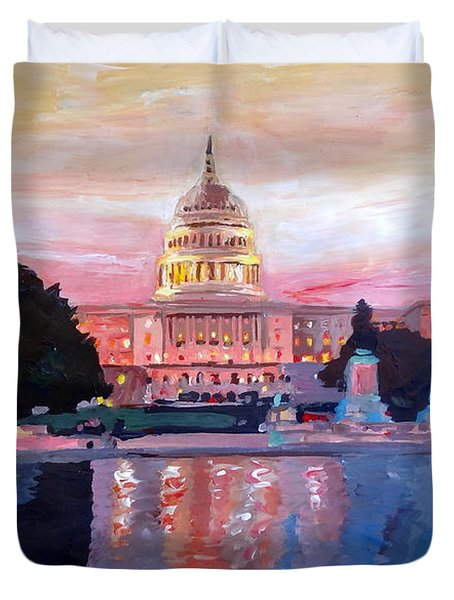 United States Capitol In Washington D.c. At Sunset Duvet Cover by M Bleichner