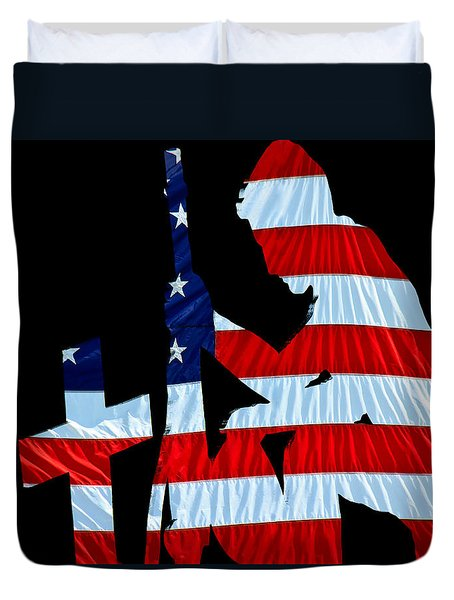 United States Flag with kneeling Soldier silhouette Duvet Cover by Bob Orsillo