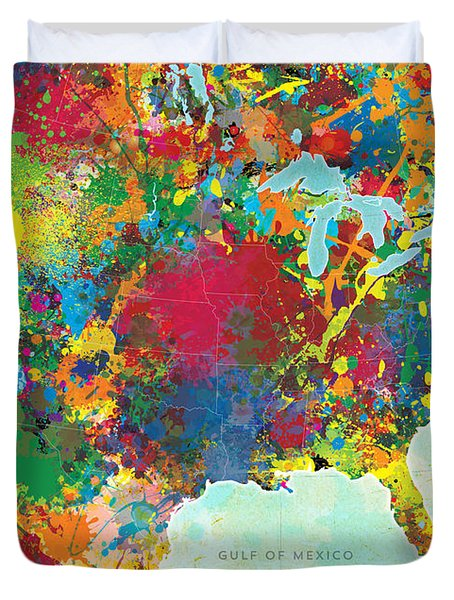 United States Map Duvet Cover by Gary Grayson