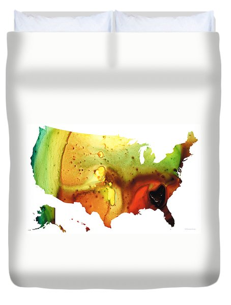 United States Of America Map 5 - Colorful Usa Duvet Cover by Sharon Cummings