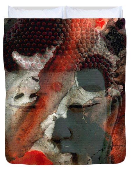 Universal Qi - Zen Black And Red Art Duvet Cover by Sharon Cummings