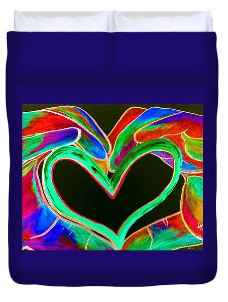 Universal Sign for Love Duvet Cover by Eloise Schneider