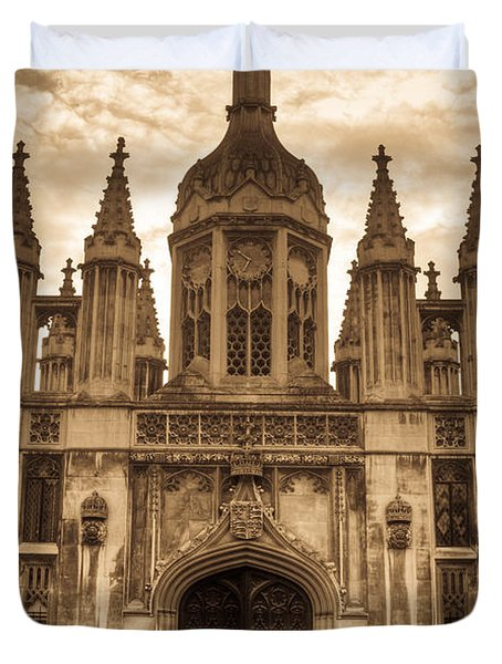 University Entrance Door Sepia Duvet Cover by Douglas Barnett