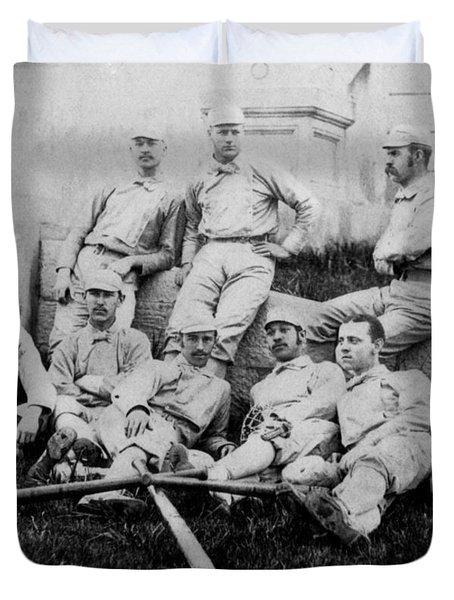 University Of Michigan Baseball Team Duvet Cover by Georgia Fowler