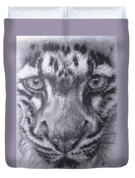 Up Close Clouded Leopard Duvet Cover by Barbara Keith
