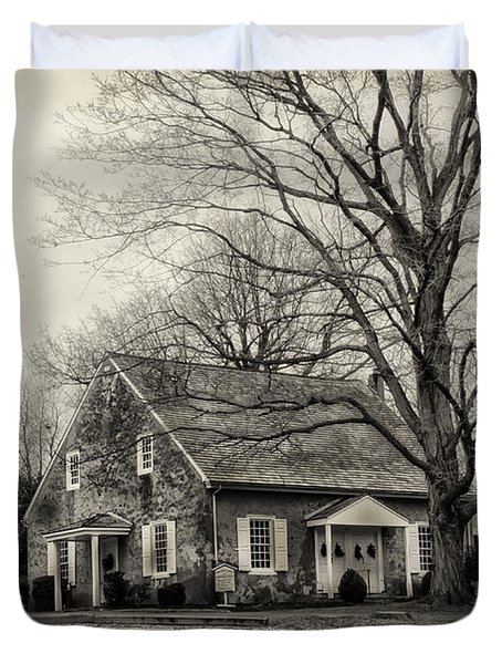 Upper Dublin Meetinghouse in Sepia Duvet Cover by Bill Cannon
