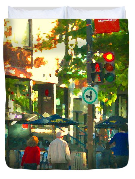 Urban Explorers Couple Walking Downtown Streets Of Montreal Summer Scenes Carole Spandau Duvet Cover by Carole Spandau