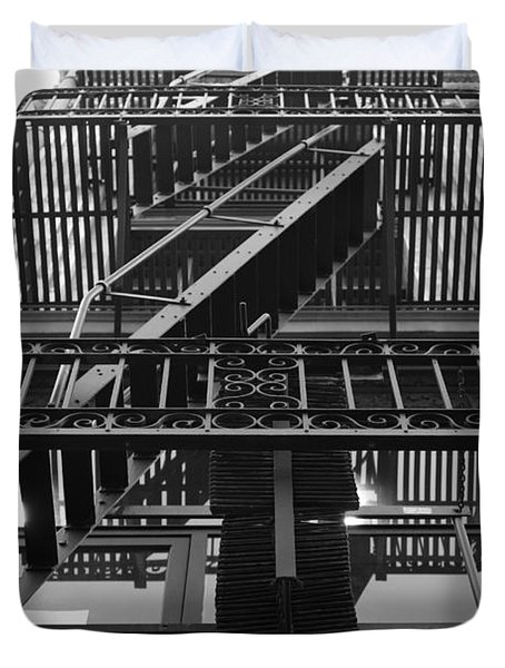 Urban Fabric - Fire Escape Stairs - 5D20592 - Black and White Duvet Cover by Wingsdomain Art and Photography