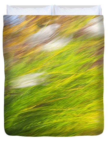 Urban Nature Fall Grass Abstract Duvet Cover by Christina Rollo
