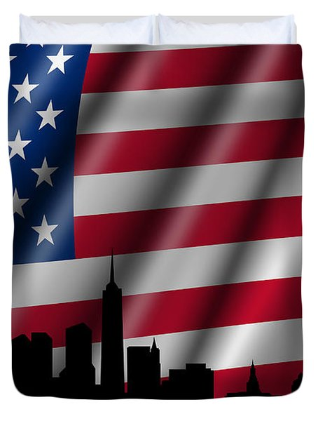 Usa American Flag With Statue Of Liberty Skyline Silhouette Duvet Cover by David Gn