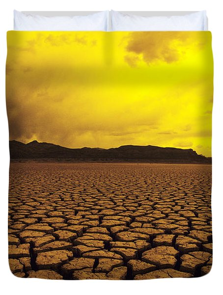 Usa, California, Cracked Mud In Dry Duvet Cover by Larry Dale Gordon