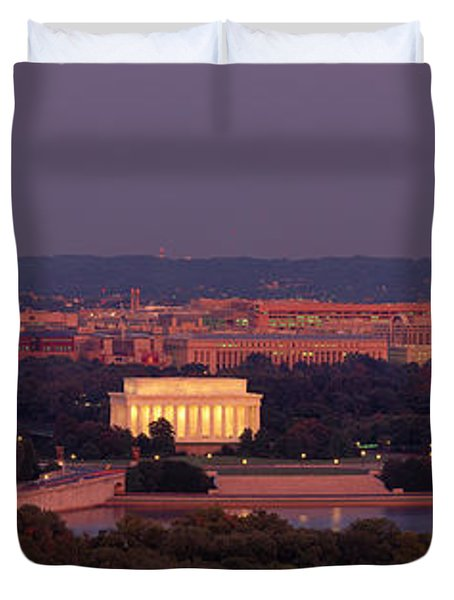 Usa, Washington Dc, Aerial, Night Duvet Cover by Panoramic Images