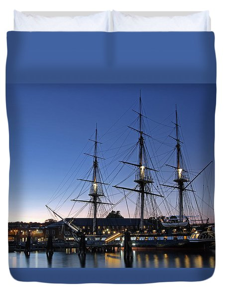 USS Constitution and Bunker Hill Monument Duvet Cover by Juergen Roth