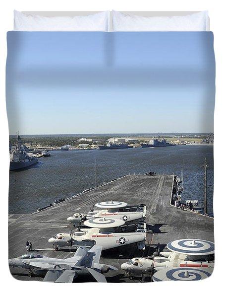 Uss Enterprise Arrives At Naval Station Duvet Cover by Stocktrek Images