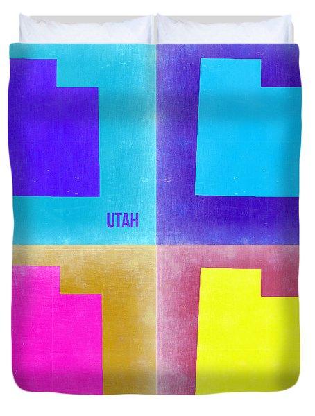 Utah Pop Art Map 2 Duvet Cover by Naxart Studio