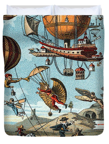 Utopian Flying Machines 19th Century Duvet Cover by Science Source