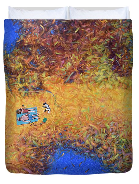 Vacationing On A Painting Duvet Cover by James W Johnson